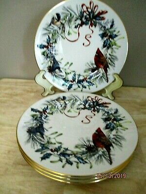 "LOT of 4 LENOX WINTER GREETINGS 8"" SALAD/DESSERT  PLATES BIRD DESIGN"
