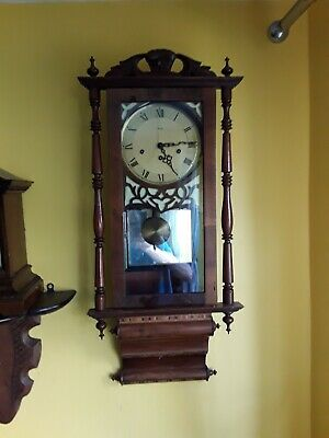 Antique American Wall Clock With Mauth Movement Good Order