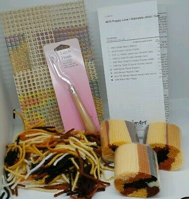 Caron International Latch Hook Kit Wool yarn rare instructions how to puppy love