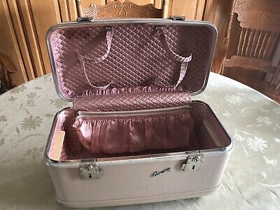 Vintage Relco Airway Hard Shell Train Carry Luggage Case cream with pink inside
