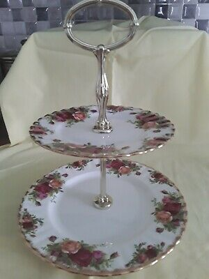 Royal  Albert old Country Roses cake Stand  2 Tier