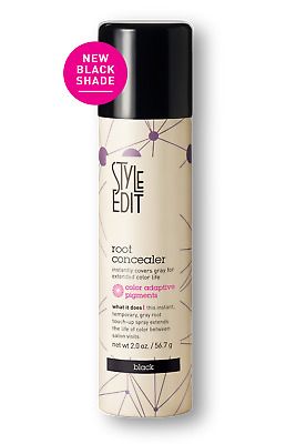 Style Edit Root Concealer Touch Up Spray Instantly Covers Grey Root, BLACK 2 Oz.