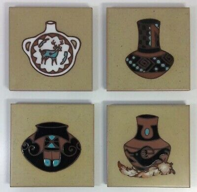"Set Of 4 Cleo Teissedre Tile Coaster Trivet Southwest Pottery Art 4"" Lot Painted"