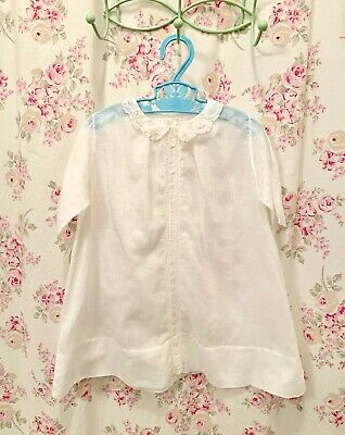 Vintage or antique full length baby gown, pink rosebuds, hand sewn