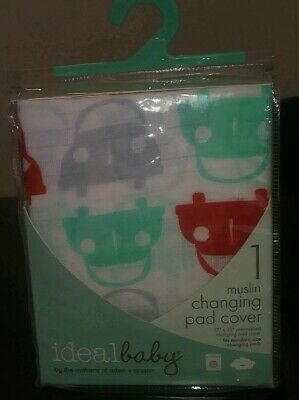 """Ideal Baby Cars Design Muslin Changing Pad Cover 17"""" x 33"""" NWOT"""