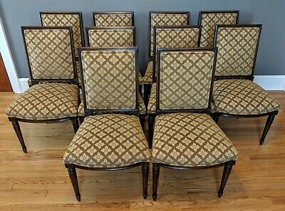 10 French Louis XVI Regency Style Upholstered Square Back Dining Chairs