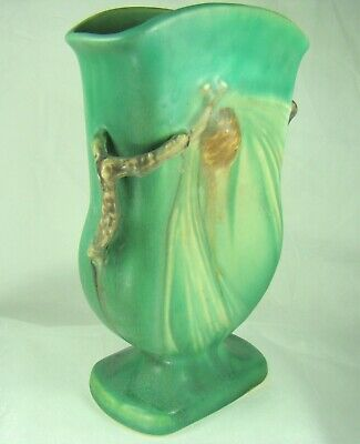 Roseville Art Pottery Signed Pinecone 121-7 Green Pillow Vase Dbl Twig Handles