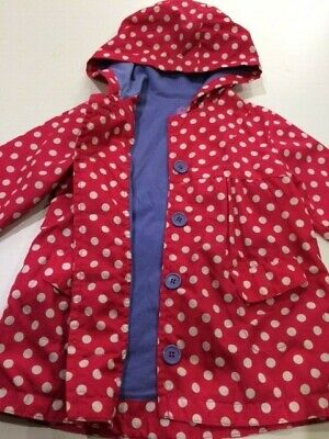 Pink hooded polka dot girls raincoat (purple lining Age 2-3 Excellent condition