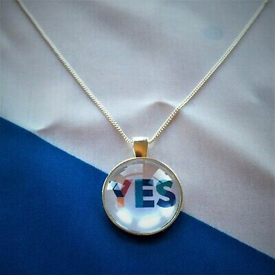 Silver Plated Yes Scotland 2019 Independence Necklace,18 Inch - Made in Scotland