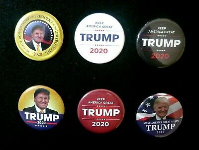 "Set of 6 Large 2.25"" President Trump 2020 Election Pins, Comes To $1.94 Each!"