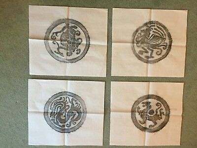 Four Authentic Chinese stone rubbings Qin Han Dynasty roof tile 38×34cm 秦漢時期瓦當拓片