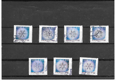 France 2018.Flocons De Neige.lot De 7 Timbres Autoadhesifs Cachets Ronds