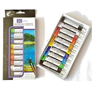 Acrylic Art Paint 10 Tubes Set - 12ml Assorted Colours Artist Craft Canvas Brush