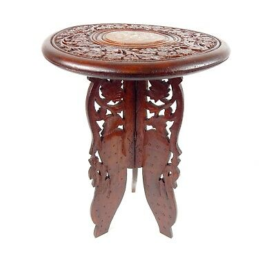 Stunning INDIAN  CARVED WOODEN FOLDING TABLE STOOL PLANT STAND w BONE INLAY