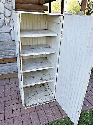 Antique Vintage Farm House Wood Jelly Cupboard Pantry Kitchen Cabinet