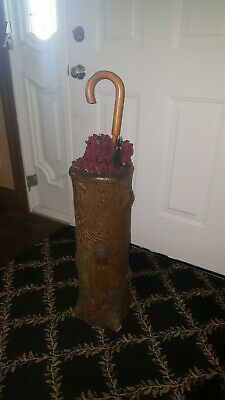 Antique late 1800's Signed Sewer Tile Folk Art Pottery Umbrella Stand Tree Trunk