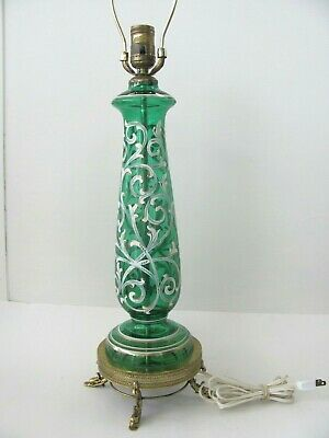 Tall Hollywood Regency Bohemian painted Green Glass Lamp with Brass Dolphin feet