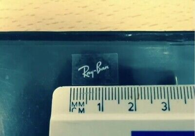 Ray Ban Logo STICKERS x2 - White Letter, Transparent Sticker - Small