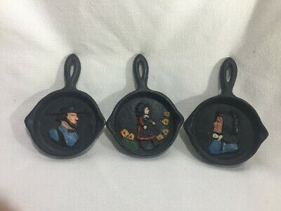 LOT OF 3 Vintage Mini Cast Iron Skillet Amish Man and Woman Wall Hanging Decor