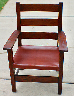 Antique Mission Arts & Crafts Gustav Stickley labeled Child Arm Chair circa 1910