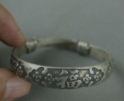China Collection Old Tibetan Silver Handmade Bracelet carving blessing a