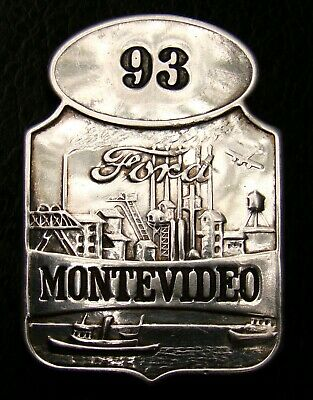 ULTRA RARE ART DECO Ford Employee ID Badge / Pin MONTEVIDEO PLANT, ca 1930