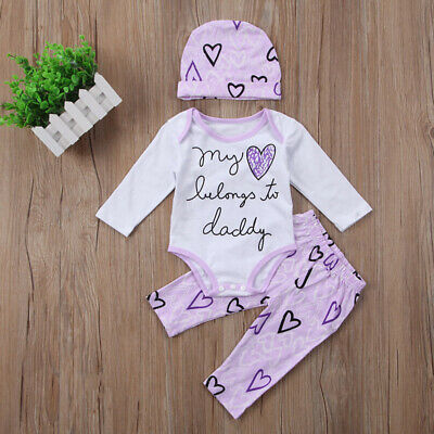 Cute Newborn Baby Girls Long Sleeve Romper Top Pants Hat Clothes 3Pcs Outfit Set