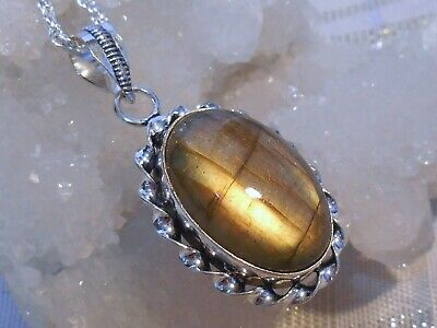 Siberian Tiger Natural Labradorite Pendant 925 Sterling Silver Overlay Necklace