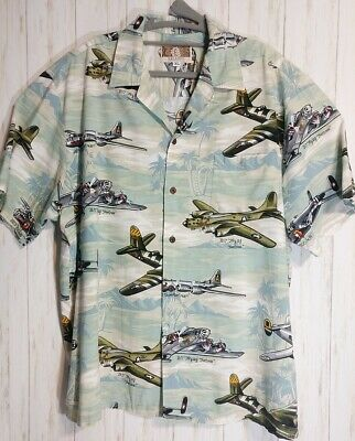 f1b4fbe1 Mens Aloha Shirt XL War Birds Kalaheo Airplane B17 B24 B26 B25 B29 WWII $EUC