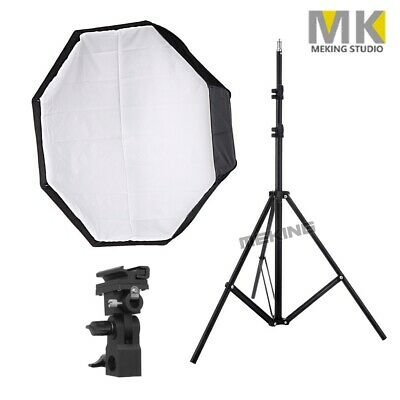 80cm Octagon Softbox Umbrella Flash Photo Studio + 2m Light Stand +B Bracket Kit