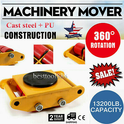 Machinery Mover Dolly Skate Roller Move 360° Rotation 6 Ton 13200lb Heavy Duty