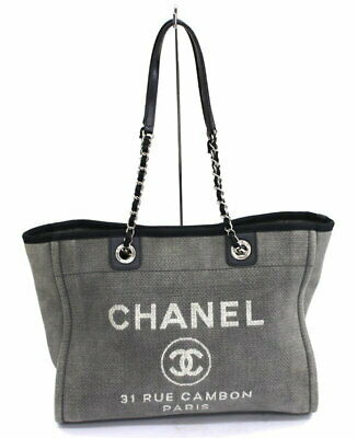 28288539c67197 Chanel Deauville Denim Canvas Gray Leather Chain Tote Bag from Japan