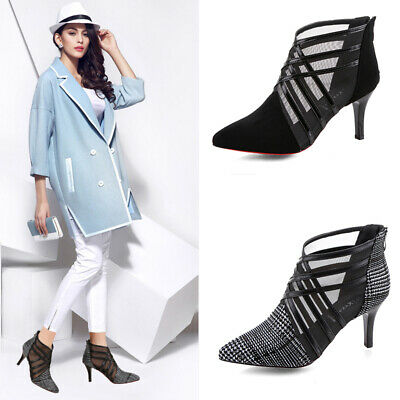 Sexy Women Gauze Pointy Toe Shoes Ladies Mid Heel Zip Sandals Summer Ankle Boots