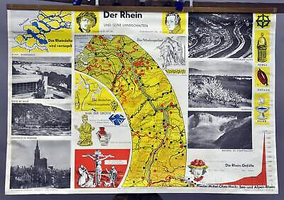 vintage poster school wall chart Rhine landscape river course Falls to North Sea