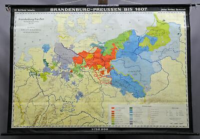 vintage poster wall chart, geography, map, Brandenburg- Prussia until 1807