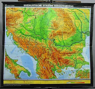 vintage poster geographical wall chart, map, socialist states of South Europe