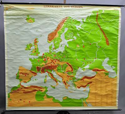 vintage picture geographical wall chart, map, topographical knowledge Europe