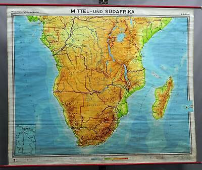 vintage wall chart rollable map poster Middle & South Africa Disney World