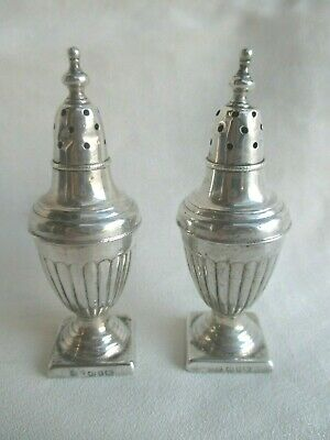 Pair Of Antique Sterling Silver Pepper Shakers Birmingham 1868