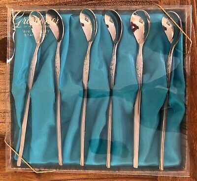 Vintage Grosvenor Parfait Spoons set of 6 original packaging - excellent cond