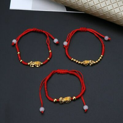 Chinese Feng Shui Gold Pi Xiu Kabbalah Cotton String Bracelet Evil Eye Protect