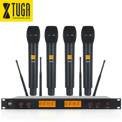 XTUGA A400 UHF Wireless Microphone System 4-Channels 4 Metal Handheld Microphone