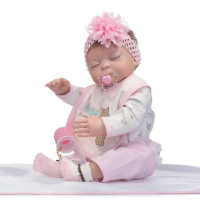 22'' Lifelike Newborn Doll Full Body Silicone Vinyl Handmade Reborn Baby Girl