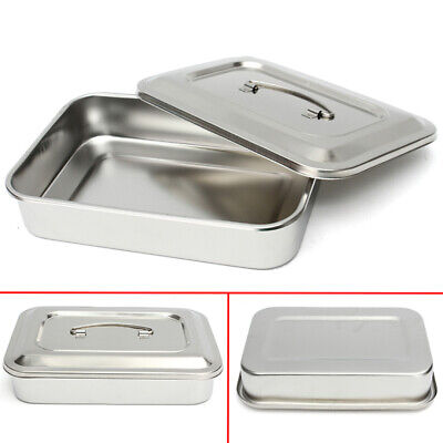 Stainless Steel Surgical Tray Dental Dish Lab Instrument Tool with Lid 5*30*20cm