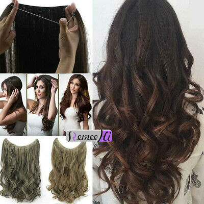 Headband Invisible Wire Real Human Hair Extension Blonde One Piece Curly Wavy