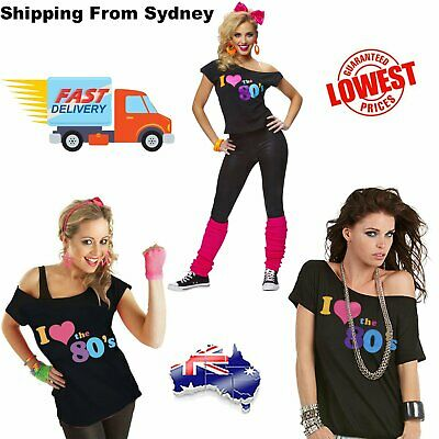 I Love the 80's 80s T-shirt Costume Ladies 1980s Fancy Dress Girls Top T Shirt