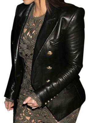 881b4eac45a Women Double Breasted Slim Fit Leather Blazer Coat Inspired By Kim  Kardashian