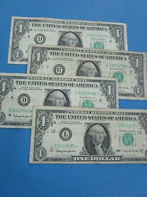 4 x USA 1963 STAR  DOLLAR Notes Circulated.. 1 x STAR included