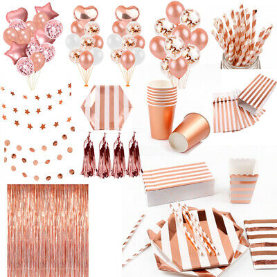 Rose Gold Wedding Tableware Set Tablecloth Kids Birthday Party Decor Supplies