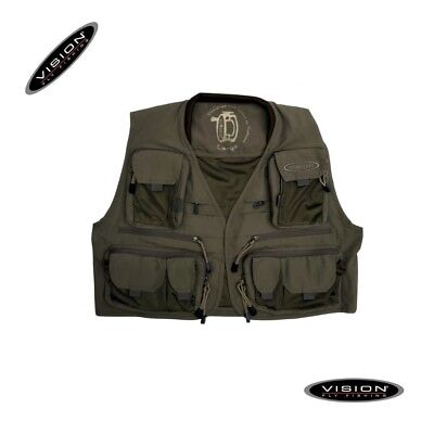 Vision Caribou Gilet Traspirante Multitasche Verde Scuro Speciale Mosca Spinning
